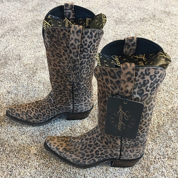 caf0f3d9147 Lucchese Leopard Print Cowboy Boot NWT